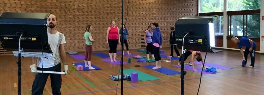 On set with Yoga Trinity